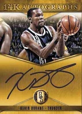 14-15 Panini Gold Standard Basketball 14K Autographs Example with Kevin Durant