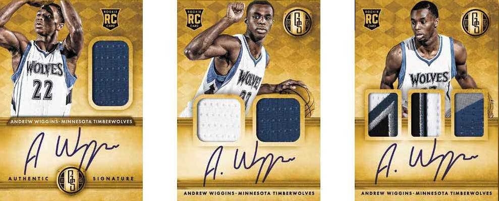 14-15 Panini Gold Standard Basketball Jersey Examples Andrew Wiggins