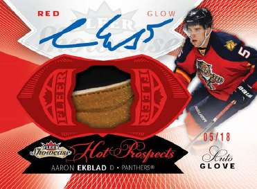 14-15 Fleer Showcase Red Glow Glove Autograph Aaron Ekblad