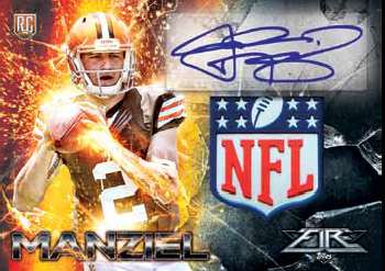 2014 Topps Fire Football NFL Shield Autograph Example Manziel