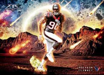 2014 Topps Fire Football Out of this World Rookie Example with Clowney