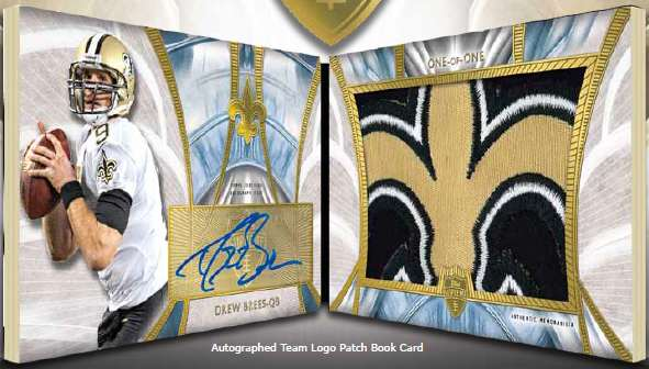 2014 Topps Supreme Football Autographed Team Logo Patch Booklet Drew Brees