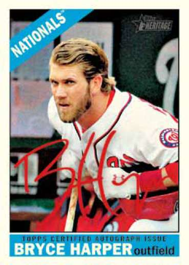 2015 Topps Heritage Real One Autograph Special Red Ink Bryce Harper