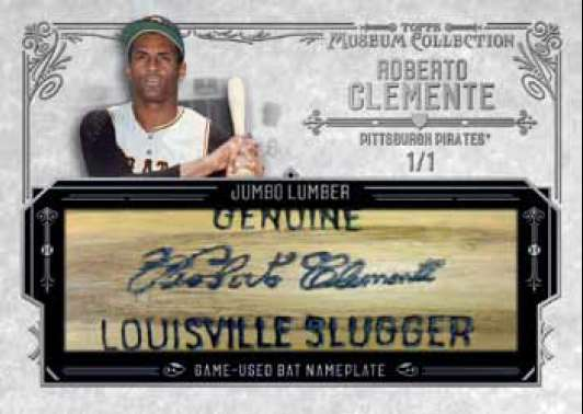 2015 Topps Museum Collection Baseball Jumbo Bat Nameplate Relic Roberto Clemente