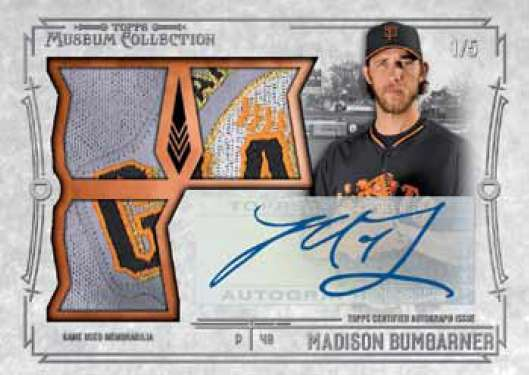 2015 Topps Museum Collection Baseball Signature Swatches Triple Relic Madison Bumgarner